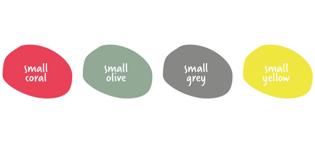 small colours: coral, olive, grey, yellow